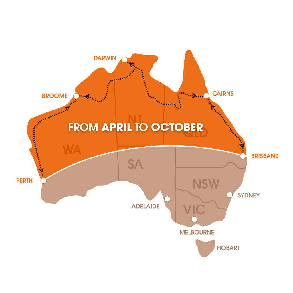 Top tip: follow the sun while camping in Australia: map of Australia.