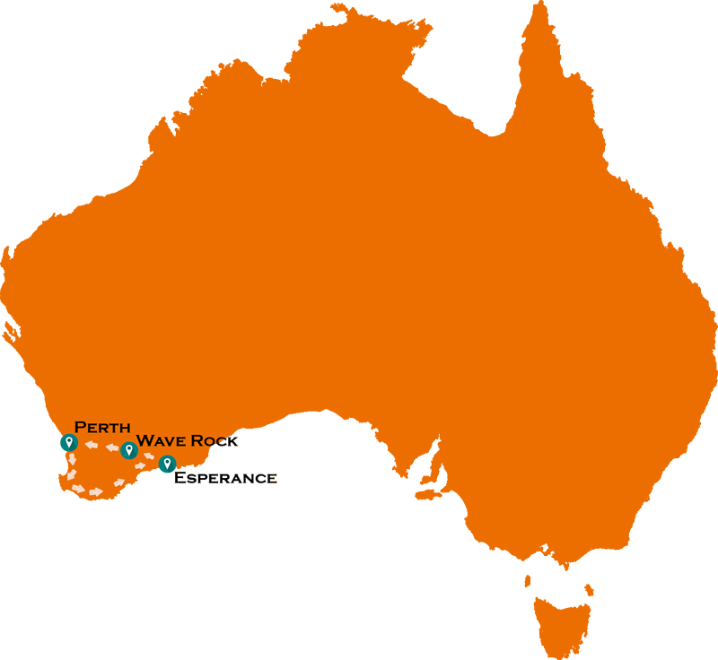 South West Australia road trip loop map including Wave Rock and Esperance