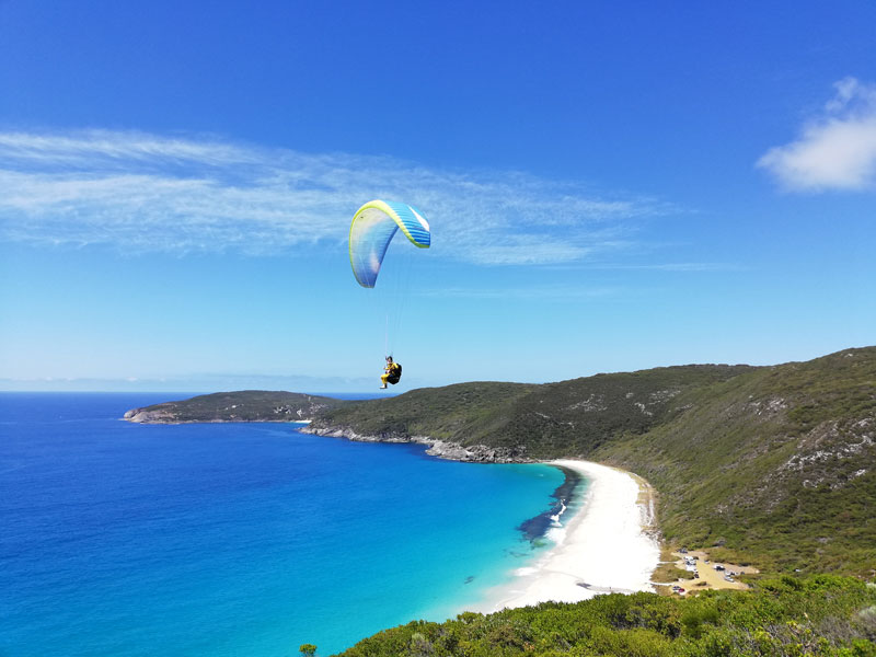 Gliding over a beach in Albany during the South West road trip