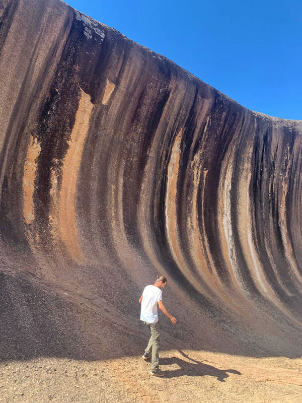 Wave Rock in Hyden, large and wave shaped. A good stop when returning to Perth from a road trip to the South West as it is very isolated.