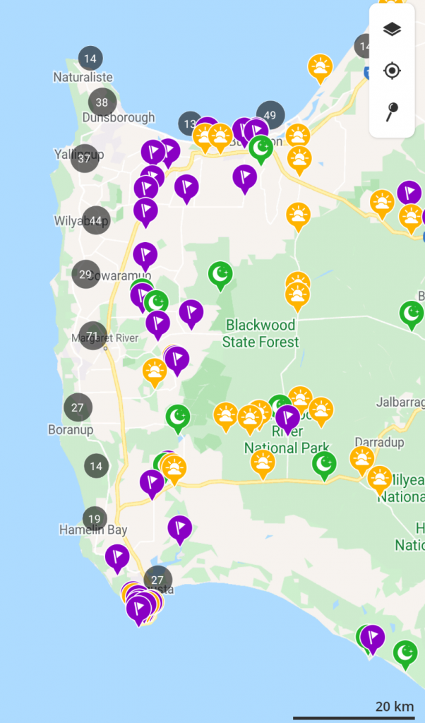 One of the best tips for camping in Australia: use the wikicamps app. Its extremely useful for planning your camping road trip. Screenshot of app